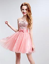 Cóctel vestido de fiesta una línea sin tirantes corto / mini tul con arco (s) de cristal de detalle