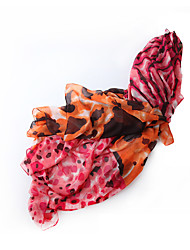 Women Cotton Scarf Vintage Casual Rectangle Red Yellow Purple Orange Print