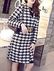 Women's Going out Simple Pea Coats,Houndstooth V Neck Long Sleeve Black Wool / Polyester