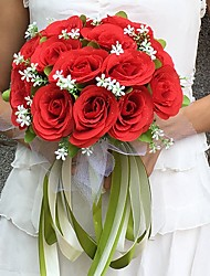 Wedding Flowers Round Roses Bouquets Wedding / Party/ Evening Satin 9.84(Approx.25cm)