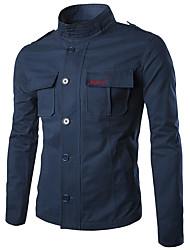 Men's Long Sleeve Casual / Work / Formal / Sport / Plus Size JacketCotton Plaid Black / Blue / Green / Beige