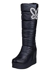 Feminino-Botas-Plataforma Botas da Moda Inovador Botas de Cowboy Botas de Neve-Anabela Plataforma-Preto Branco-Courino Couro Envernizado-