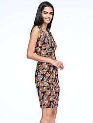 Robe Aux femmes Grandes Tailles Grandes Tailles , Imprimé Bateau Mi-long Coton / Polyester