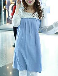 Ample Robe Maternité Décontracté / Quotidien simple,Couleur Pleine Col Arrondi Mi-long Manches Longues Bleu Polyester Eté