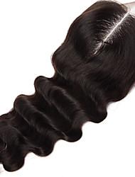 18inch handtied естественное закрытие шнурка волны необработанный волос Remy человеческих волос 4 * 4swiss кружева