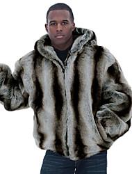 Men's Striped Casual / Plus Size CoatFaux Fur Long Sleeve-Black