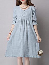 Women's Casual /Vintage Ethnic Print Loose Dress,Check Long Sleeve Blue / Red / Green Cotton / Linen Spring / Fall