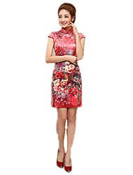 One-Piece Short Sleeve Medium Length Red Lolita Dress Polyester