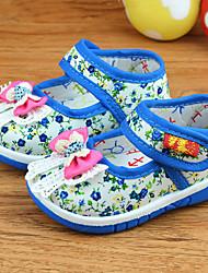 Girls' Baby Flats Ballerina Canvas Fall Winter Casual Ballerina Bowknot Flat Heel Ruby Blue Flat