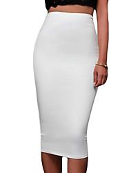 Jupes Aux femmes Mi-long simple Polyester / Spandex Elastique
