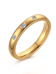 Women's Fashion Sweet Three Zircons Stainless Steel High Polished  IP Gold Plating Band Rings(1Pc)