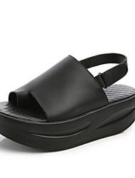 Damen-Sandalen-Lässig-Leder-Keilabsatz-Sandalen-Schwarz / Weiß