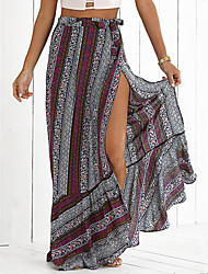 Women's Boho High Slit Bohemian Printed Mermaid Skirt