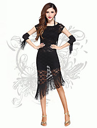 Robes(Noire,Chinlon,Danse latine)Danse latine- pourFemme Frange (s) Spectacle Danse latine Taille haute