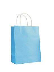 Six Blue 32CM * 11CM * 25CM Kraft Paper Handle Shopping Bags Per Pack