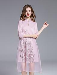Damen Tunika Kleid-Ausgehen Chinoiserie Stickerei Ständer Übers Knie ¾-Arm Rosa / Lila Seide / Baumwolle Frühling / HerbstMittlere