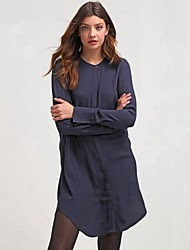 Women's Going out / Casual/Simple Loose DressSolid Round Neck Above Knee Long Sleeve Blue Cotton Spring / Fall BN0772