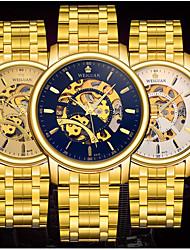 Hombre El reloj mecánico Cuerda Automática Calendario / Resistente al Agua / Luminoso Acero Inoxidable BandaCasual / Mapa del Mundo