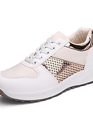 Damen-Sneaker-Lässig-PU-Flacher Absatz-Komfort-Schwarz Silber Gold