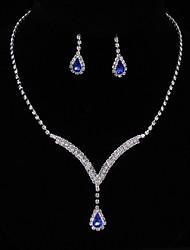Жен. Серьги-слезки Ожерелья-бархатки Свадебные комплекты ювелирных изделий Сапфир Цирконий Elegant Мода Драгоценный камень Цирконий