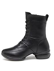 botas femininas primavera / outono couro dedo do pé fechado ao ar livre / ocasional calcanhar robusto lace-up outros negros