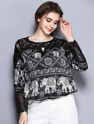 Women's Casual/Daily Vintage Spring BlousePrint Round Neck Long Sleeve Black Cotton / Polyester Thin