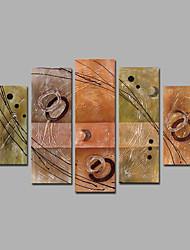Pintados à mão Abstracto Pinturas a óleo,Mediterrêneo 5 Painéis Tela Hang-painted pintura a óleo For Decoração para casa