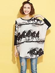 Damen Druck Street Schick Ausgehen T-shirt,Rundhalsausschnitt Herbst Langarm Beige Polyester Mittel