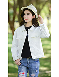 Women's Casual/Daily Simple Denim JacketsSolid Shirt Collar Long Sleeve White Special