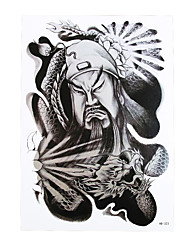 1pc Body Art Beauty Makeup Cool Tattoo Temporary Guan Yu Dragon Picture Design for Women Men Tattoo Sticker HB-323