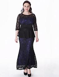 Women's Plus Size Vintage Sheath DressPatchwork Round Neck Maxi  Length Sleeve Blue5