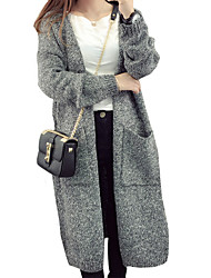 Women's Casual/Daily Simple Long Cardigan,Solid Gray Round Neck Long Sleeve Wool Spring / Fall Medium
