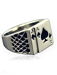 Men's Fashion Alloy Ring Vintage Playing Card Personality Statement Rings Casual/Daily 1pc Christmas Gifts