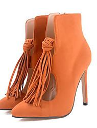Women's Boots Fall / Winter Fashion Boots Cowhide Office & Career / Dress Stiletto Heel Tassel Black / Tan