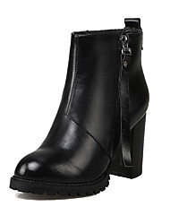 Women's Round Closed Toe High Heels Solid Zipper Boots with Metal Nail