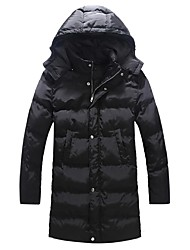 Men's Fashion Detachable Cap Thicker Parka CoatCotton / Polyester Solid Long Sleeve