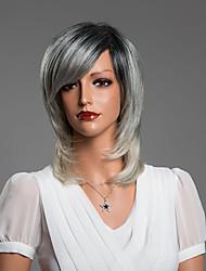 elegante meio sem tampa reta cabelo humano peruca de 15 polegadas