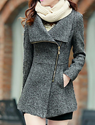 Women's Casual/Daily Simple Coat,Print Shirt Collar Long Sleeve Winter Red / Gray Wool Thick