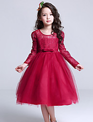 Girl's Formal Solid DressPolyester Summer / Winter / Spring / Fall Red