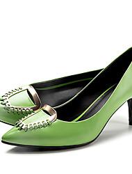Damen-High Heels-Lässig-Leder-Stöckelabsatz-Komfort-Grün / Weiß