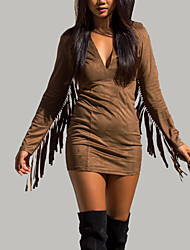 Women's Going out / Party/Cocktail / Club Sexy / Simple Bodycon / Loose DressSolid V Neck Mini Long Sleeve Brown