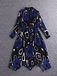 Boutique S Going out Cute Sheath DressPrint Stand Midi Long Sleeve Blue Silk / Polyester Summer High Rise