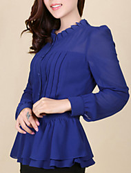Women's Formal Simple Summer Blouse,Solid Round Neck / Stand Long Sleeve Blue / Red / Black Medium