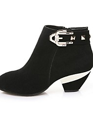 Women's Boots Fall Winter Suede Outdoor Chunky Heel Buckle Zipper Black Other