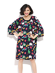 HANBELLE® Damen Rundhalsausschnitt 3/4 Ärmel Knielänge Kleid-8020#