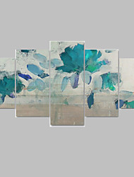 IARTS 5 Panels Modern Blue Floral Art Canvas Paintings Handpainted Framed Ready to Hang