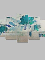 Pintados à mão Floral/Botânico Pinturas a óleo,Modern / Pastoril 5 Painéis Tela Impressão artística For Decoração para casa
