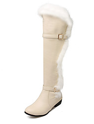 Women's Boots Winter Snow Boots / Riding Boots Dress Low Heel Buckle Black / White / Beige Others