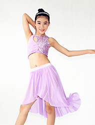 Performance Outfits Women's / Children's Performance Spandex / SequinedDraped / Sequins / Side-Draped / Split