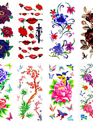 16 Designs Waterproof Temporary Tattoos Sticker Flower Pattern for  Body Art Beauty Makeup 24cm*9.5cm (Assorted Pattern)